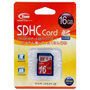 Team Japan SDHC 16GB TG016G0SD28X Class10