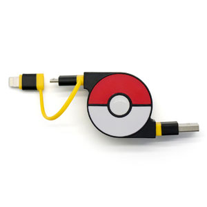 cheero CHE-245-YE cheero 2in1 Retractable USB Cable with Lightning & micro USB POKEMON version 70cm