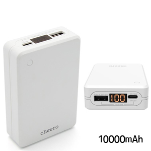 チーロ cheero モバイルバッテリー Extra 10000mAh with Power Delivery 18W White CHE-102-WH