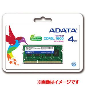 エーデータ(A-DATA) 【SO DIMM ノートPC用】【DDR3L-1600 PC3L-12800】ADDS1600W4G11-R【4GB】【1.35V低電力モデル】