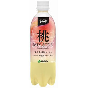 伊藤園 Vivit's 桃 MIX SODA 450ml